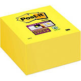 Post-it® Super Sticky Notas Adhesivas Cubo 76 x 76 mm, Amarillo, 350 hojas