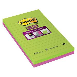Post-it® Super Sticky Notas Adhesivas Rayadas, 125 x 200 mm, Colores Surtidos, 45 hojas