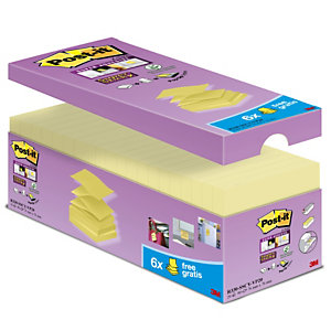 Post-it® Super Sticky R330-12SS-CY Z-Notes Pack Ahorro 14 + 6 GRATIS, bloques de Z-Notas Canary Yellow™ 76 x 76 mm, amarillo canario, 90 hojas