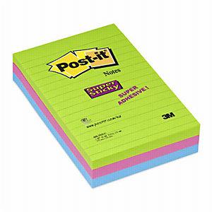 Post-it®  Super Sticky XXL, Foglietti Riposizionabili, Blocchi a Righe 102 x 152 mm, Colori Assortiti, 90 foglietti, Confezione da 3 pezzi
