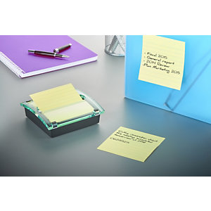 Post-it® Super Sticky Z-Notes Dispensador de sobremesa, negro/transparente + Super Sticky Ruled Z-Notes Bloc de notas 101 x 101 mm, color Canary Yellow™, 90 hojas.