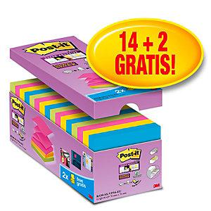 Post-it® Super Sticky Z-Notes Pack Ahorro 14 + 2 GRATIS, bloques notas adhesivas Z- Notas 76 x 76 mm, Colección Río de Janeiro, 90 hojas