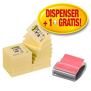 Post-it® Super Sticky Z-Notes Pack Ahorro paquete de 16 Bloc de notas, 76 x 76 mm Canary Yellow™ + Dispensador de escritorio Pro GRATIS, negro con bloc Z-Notes amapola