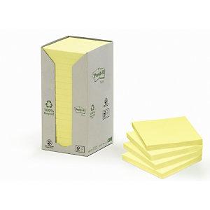 Post-it® Tour de Notes adhésives, 100feuilles, papier recyclé, jaune, 76x76 mm