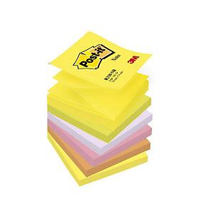 Post-it® Z-Notes repositionnables 76 x 76 mm - Coloris assortis Néon - Bloc de 100 feuilles