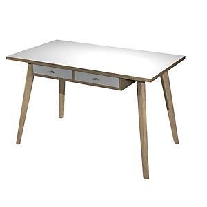 """Postazione di lavoro """"Desk"""", 120 x 60 x 74,4 cm, Gamba legno, Rovere/Bianco"""