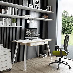"""Postazione di lavoro """"Desk"""", 120 x 60 x 74,4 cm, Gamba metallo, Bianco/Rovere"""