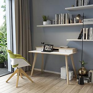 """Postazione di lavoro """"Desk Plus"""", 120 x 60 x 74,4 cm, Gamba legno, Rovere/Bianco"""