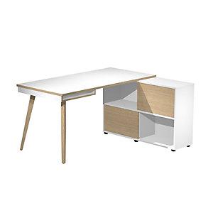 Postazione di lavoro Home-Wood, 130 x 60 x 81,5 cm, Gamba in legno, Bianco/Rovere