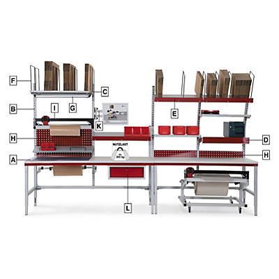 Poste d'emballage System Flex de Hüdig+Rocholz - à assembler##Paktafel System Flex van Hüdig+Rocholz - samen te stellen