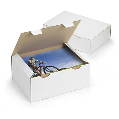 Boîte postale blanche en carton RAJAPOST de 100 à 430 mm de long##Postkarton RAJAPOST, weiss