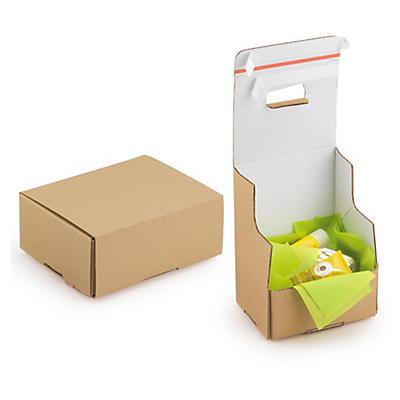 """Boîte carton brune d'expédition avec fermetures adhésives """"aller-retour""""##Postkartons mit doppeltem Haftklebeverschluss"""