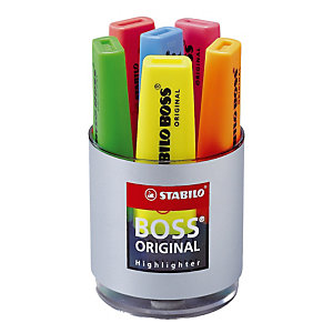 Pot de 6 surligneurs Stabilo Boss Original coloris assortis
