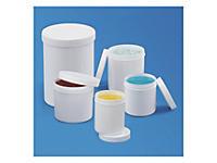 Pot plastique blanc opaque rond à couvercle vissant