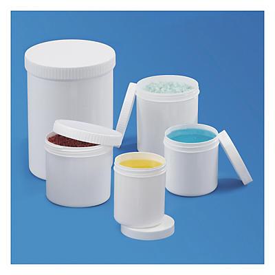 Pot plastique blanc opaque rond à couvercle vissant##Kunststoffdosen mit Schraubverschluss