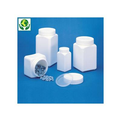 Pot plastique carré blanc opaque à large ouverture