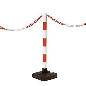 Poteau rabattable sur socle rouge et blanc