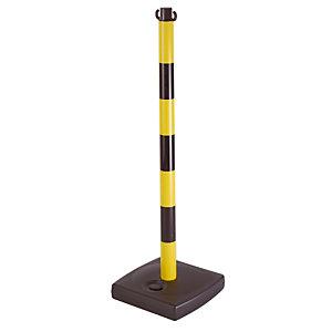 Poteau de signalisation PVC jaune et noir sur socle à lester