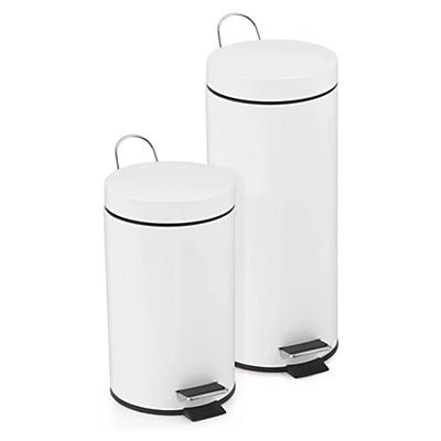 Poubelle à pédale 3 à 30 litres en acier epoxy blanc