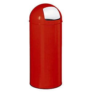 Poubelle Push  Rossignol 45 L rouge,  couvercle à trappe