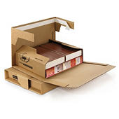Premium brown panel wrap book boxes with an adhesive strip
