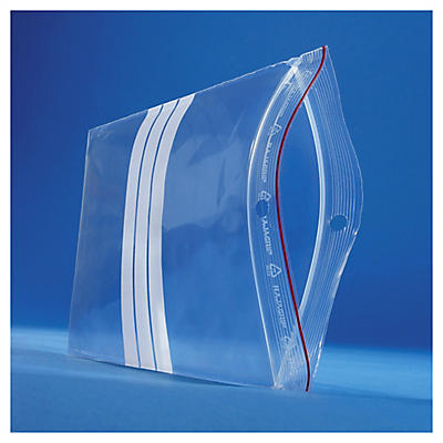 Premium grip-seal polybags with a write-on panel