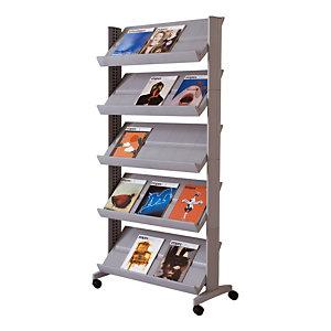 Présentoir mobile Large easyDisplays PAPERFLOW - 15 cases - Coloris aluminium