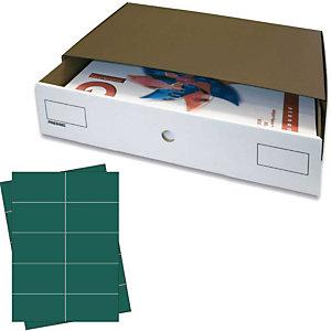 Pressel 10 Boîte superposables A3, marron foncé/blanc avec étiquettes vertes