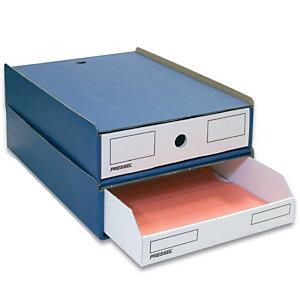 Pressel 10 Boîte superposables A4, bleu/blanc