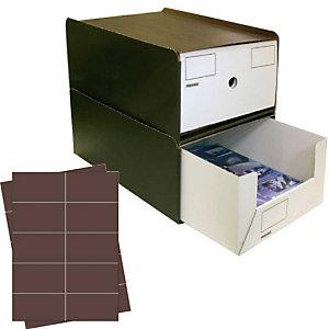 Pressel 10 Boîte superposables A4 haute, marron foncé/blanc avec étiquettes brunes