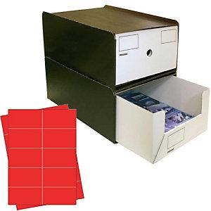 Pressel 10 Boîte superposables A4 haute, marron foncé/blanc avec étiquettes rouges