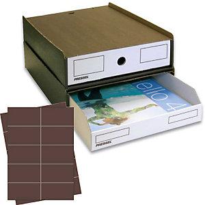 Pressel 10 Boîte superposables A4, marron foncé/blanc avec étiquettes brunes