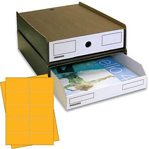Pressel 10 Boîte superposables A4, marron foncé/blanc avec étiquettes jaunes