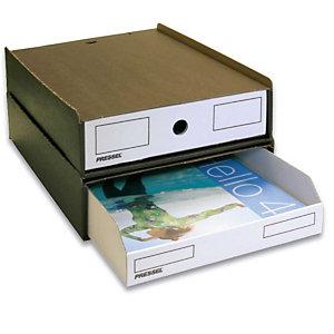 Pressel 10 Boîte superposables A4, marron foncé/blanc