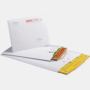 Pressel 100 pochettes d'expédition avec languette de fermeture, blanche, 345x245mm