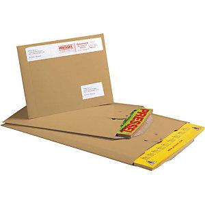 Pressel 100 pochettes d'expédition avec languette de fermeture, brun, 310x235mm