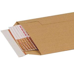 Pressel 50 kartonnen omslagen met zelfklevende sluiting, bruin, 370x285mm