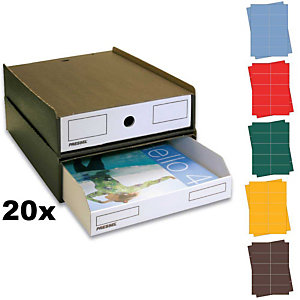 Pressel Kit de boîtes superposables marron foncé/blanc
