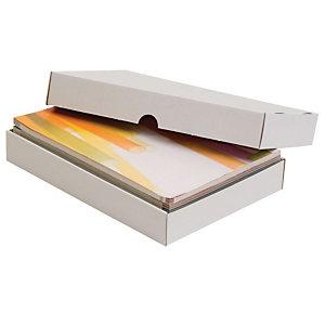 Pressel Scatola per imballaggio, 305x215x100 mm, Cartone ondulato, Coperchio removibile, Bianco (confezione 20 pezzi)