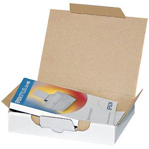 Pressel Scatola per spedizione in cartone, Coperchio con chiusura, Marrone, 350 x 240 x 40 mm (confezione 25 pezzi)