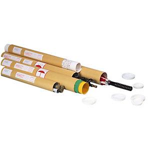 Pressel Tubo per spedizioni postali, 50x610 mm, Cartoncino, Tappino di plastica, Avana (confezione 20 pezzi)