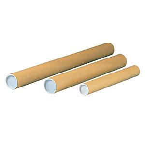 Pressel Tubo per spedizioni postali Avana 80x610 mm Cartoncino Tappino di plastica (confezione 20 pezzi)