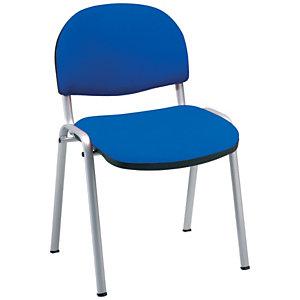 Prima Silla apilable, tapizado, estructura aluminizada, azul