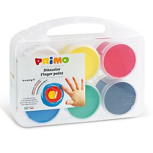 PRIMO - MOROCOLOR Ditacolor colori a dita - 100ml  - c/pennello - Primo - valigetta 6 colori