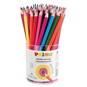 PRIMO - MOROCOLOR Matite colorate - mina 2,90mm  - 12 colori - Primo - bicchiere 72 matite