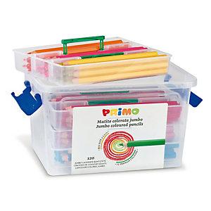 PRIMO - MOROCOLOR Matite Jumbo - lunghezza 17,5cm e Ø mina 5,5mm - 12 colori - Primo - valigetta 120 matite
