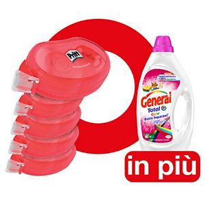 Pritt Offerta 5 colle roller Compact permanente 8,4 mm x 10 m + 1 Detersivo liquido General Total Color compreso nel prezzo