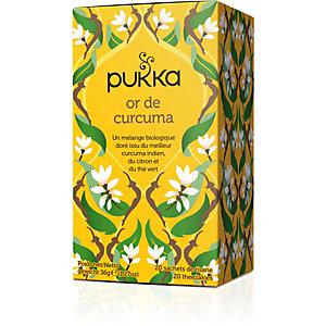 pukka Boisson au thé vert biologique et équitable Or de Curcuma, fruits citronnés, cardamome, boîte de 20 sachets emballés individuellement