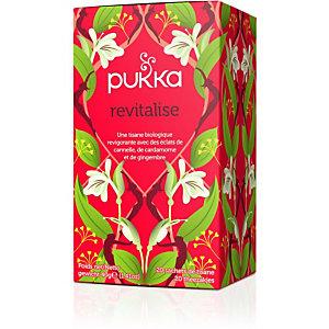 pukka Infusion biologique et équitable Revitalise, cannelle, gingembre, clou de girofle, cardamome, orange, menthe verte, thé vert, boîte de 20 sachets emballés individuellement
