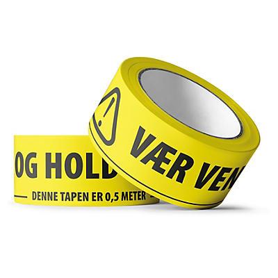 """PVC-tape med trykk """"""""VÆR VENNLIG OG HOLD 2 METER AVSTAND"""""""" 50 mm x 66 m"""